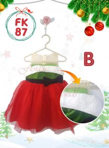 FK 87 KIDS -B GREEN X RED TILLE FUR CHRISTMAST DRESS