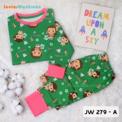 Pajamas Juniorwardrobe Digital Printing Green Moana Kids JW 279- A