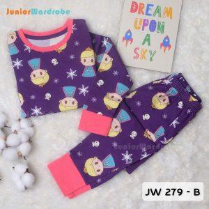 Pajamas Juniorwardrobe Digital Printing Purple Princess Elsa Kids JW 279- B