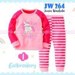 Pajamas Juniorwardrobe Unicorn Pink Cotton+Printing Kids JW 264- I